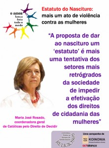 Cartaz Estatuto do Nascituro (Maria José Rosado)
