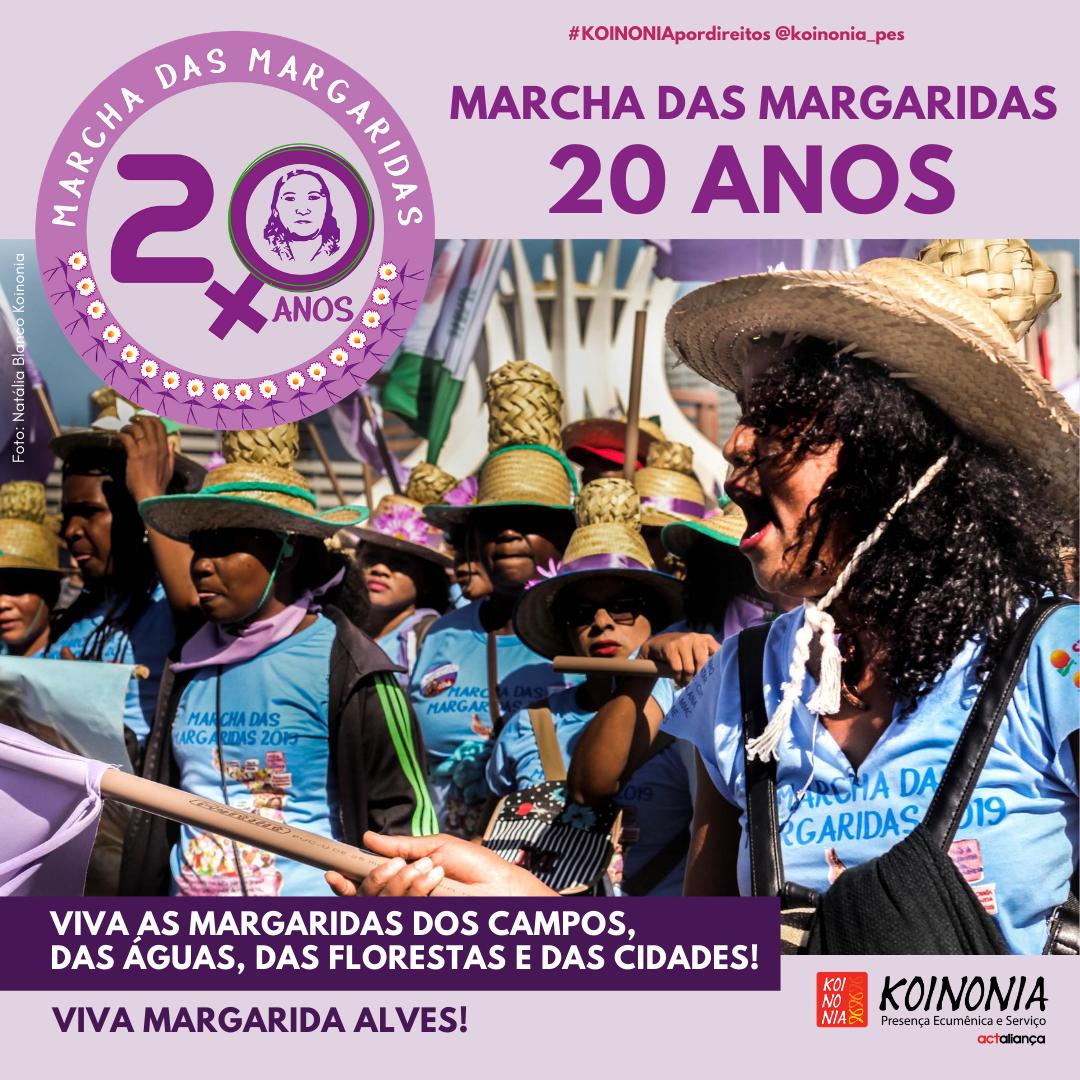 Celebrando duas décadas da Marcha das Margaridas, mulheres do Baixo Sul da Bahia e religiosas do FEACT relembram a experiência vivida em 2019